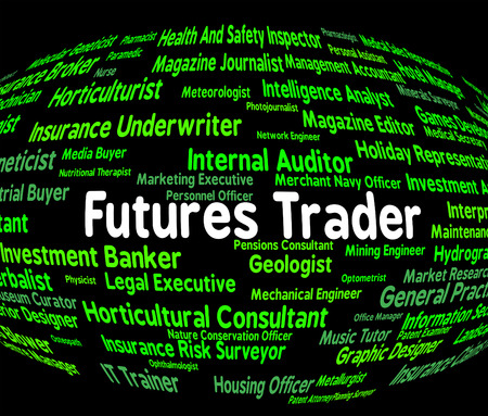 importer: Futures Trader Showing Contract Share And Salesman Stock Photo