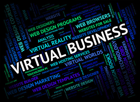 independent contractor: Virtual Business Indicating Independent Contractor And Subcontract Stock Photo