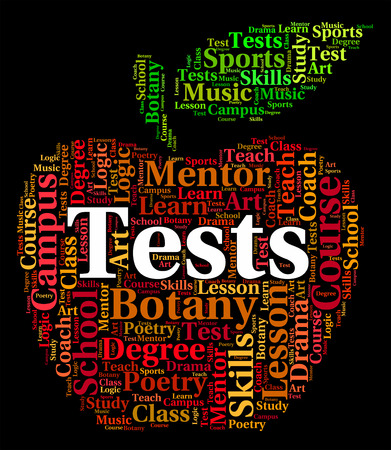 tested: Tests Word Representing Testing Tested And Questions Stock Photo