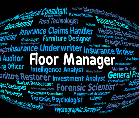 overseer: Floor Manager Indicating Job Supervisor And Occupations Stock Photo