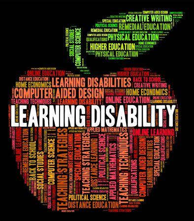 discapacidad: Aprender Palabras Discapacidad Mostrando necesidades especiales y Dotados Foto de archivo