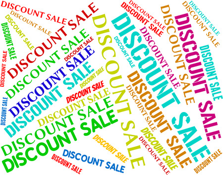 closeout: Discount Sale Showing Closeout Words And Cheap Stock Photo
