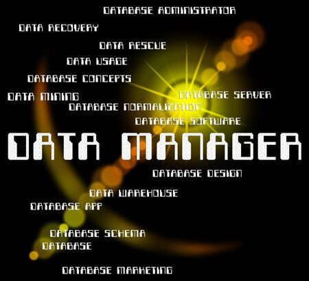 overseer: Data Manager Meaning Text Information And Managers Stock Photo