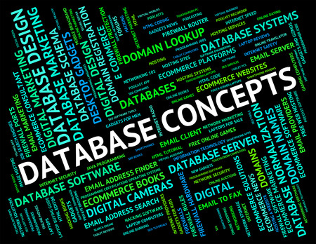 hypothesis: Database Concepts Showing Computing Think And Invention Stock Photo