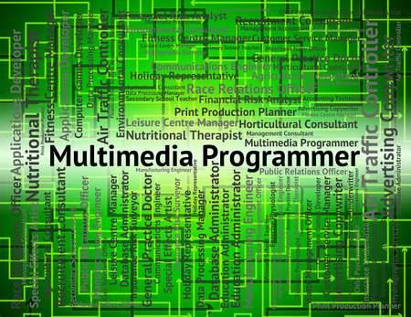 programmers: Multimedia Programmer Meaning Software Engineer And Jobs Stock Photo