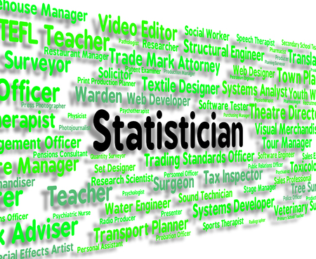 statistician: Statistician Job Showing Word Stats And Statistics Stock Photo