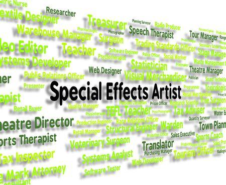 special effects: Artista Especial Efectos Mostrando Empleado Gráfico Y Jobs Foto de archivo