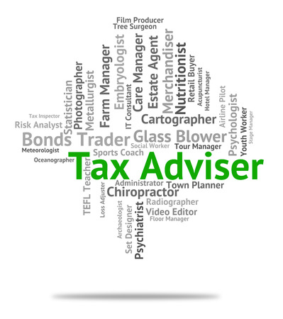 taxation: Tax Adviser Indicating Hire Recruitment And Taxation Stock Photo