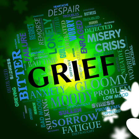 dejection: Grief Word Showing Words Woe And Mourning