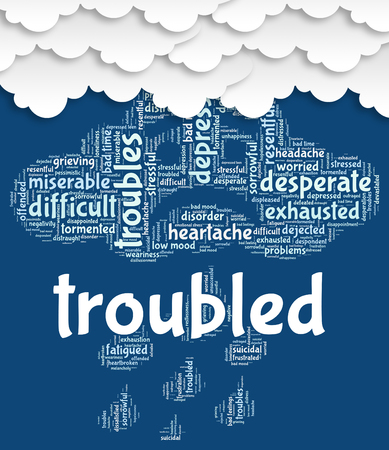 troubled: Troubled Word Representing Wordcloud Problem And Unsettled Stock Photo