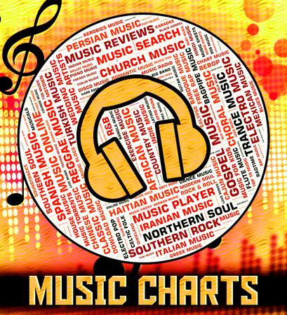 top ten: Chart Music Indicating Top Ten And Charts Stock Photo