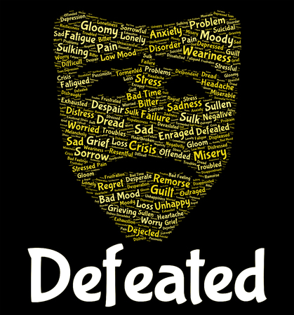 defeated: Defeated Word Representing Beat Crush And Overpower