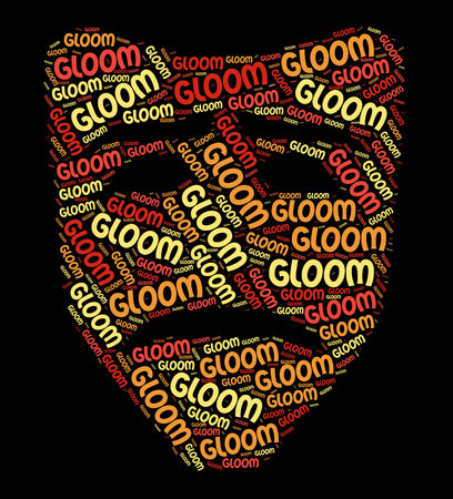 gloom: Gloom Word Representing Low Spirits And Wordclouds Stock Photo