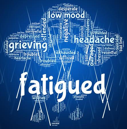 cansancio: Fatigado Palabra Representando falta de energ�a y palabras lentas