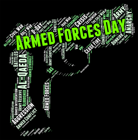 armed services: Armed Forces Day Showing Fighting Machine And Wordclouds Stock Photo