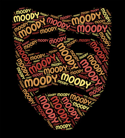 moody: Moody Word Meaning Wordclouds Unpredictable And Moping Stock Photo