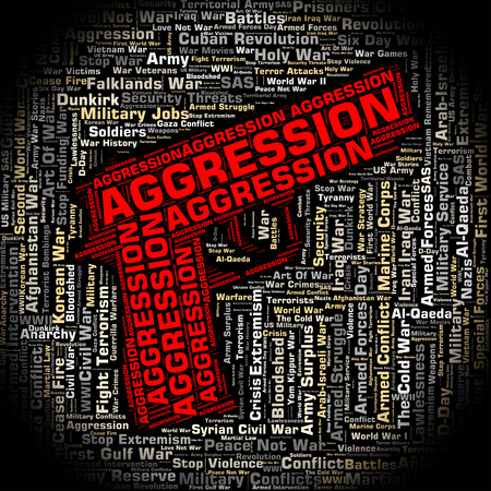 aggression: Aggression Word Meaning Aggressive Offence And Text Stock Photo