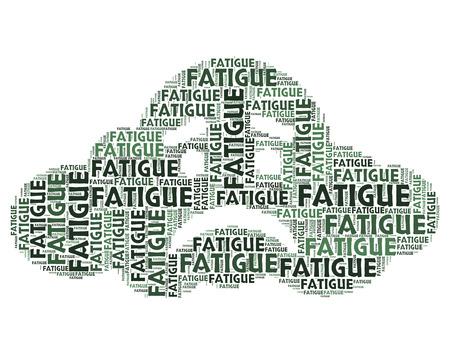 cansancio: Fatiga Palabra Representando falta de energía y cansado agotado