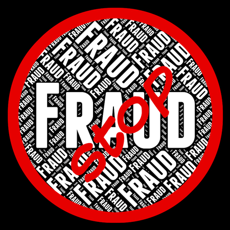 scamming: Stop Fraud Indicating Warning Sign And Swindle