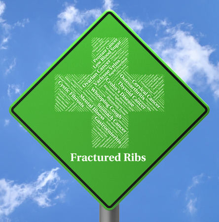 rib cage: Fractured Ribs Meaning Ill Health And Ailment Stock Photo