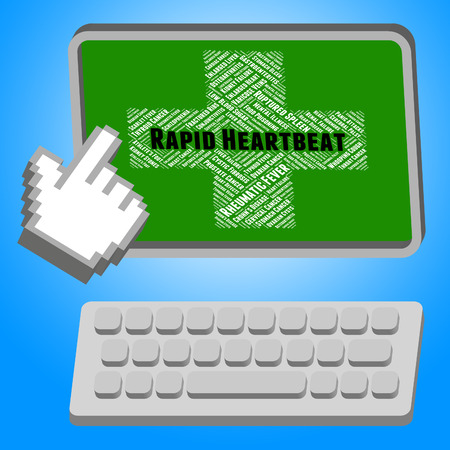 tachycardia: Rapid Heartbeat Indicating Pulse Trace And Disorders Stock Photo