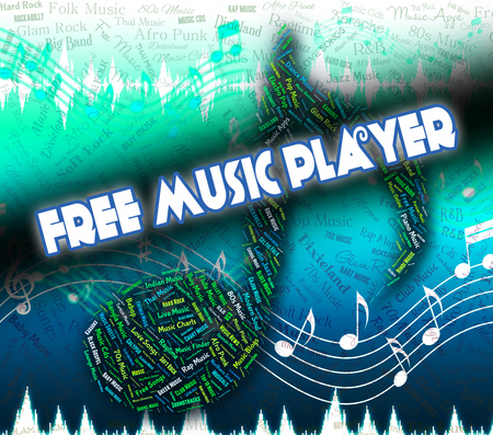 handout: Free Music Player Representing No Cost And Handout Stock Photo