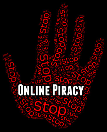 piracy: Stop Online Piracy Indicating Warning Sign And Prohibited Stock Photo