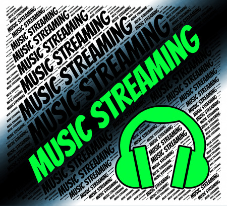 live stream music: Music Streaming Indicating Sound Tracks And Songs Stock Photo
