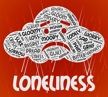 soledad: Soledad Word que muestra paria rechazado y solo