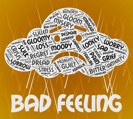 desconfianza: Mal presentimiento Mostrando mala voluntad y texto