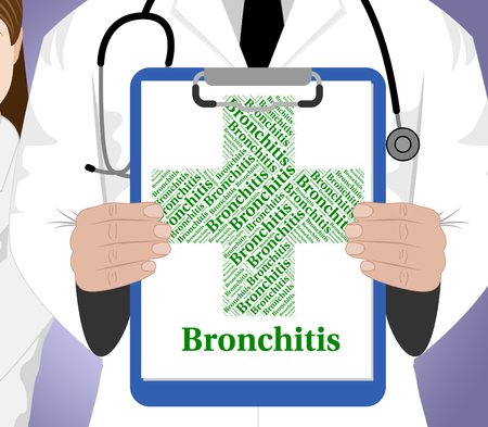 afflictions: Bronchitis Word Representing Ill Health And Disorders