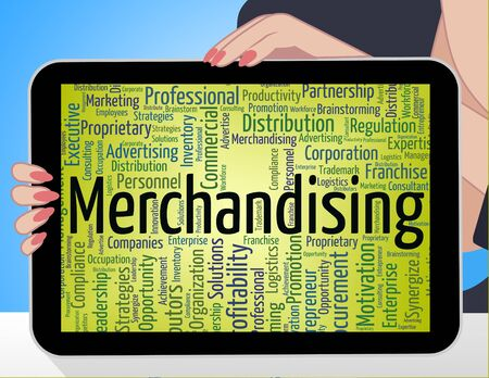 merchandising: Merchandising Word Indicating Retail Text And Trade Stock Photo