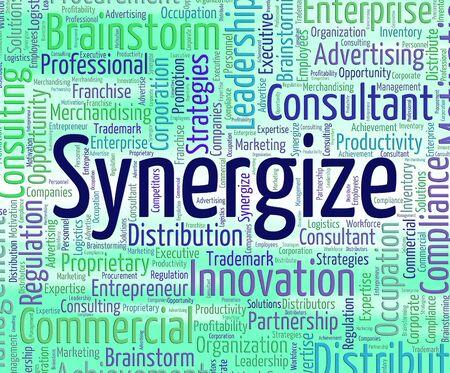 work together: Synergie Word Vertegenwoordigen samenwerken en Samenwerken