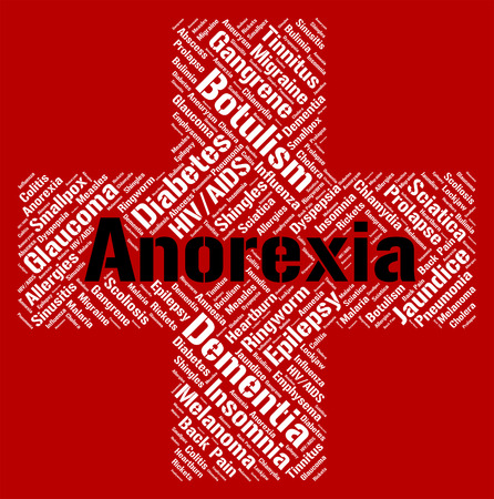 emaciated: Anorexia Word Showing Ill Health And Bulimia