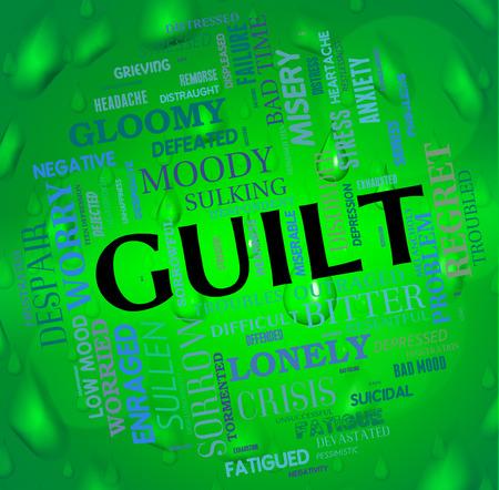 arrepentimiento: La culpa Palabra Mostrando Guilty Conscience Y Wordclouds Foto de archivo