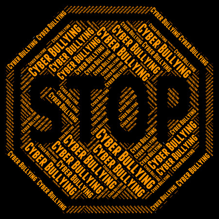 Stop Cyber Bullying Representing World Wide Web And Warning Sign