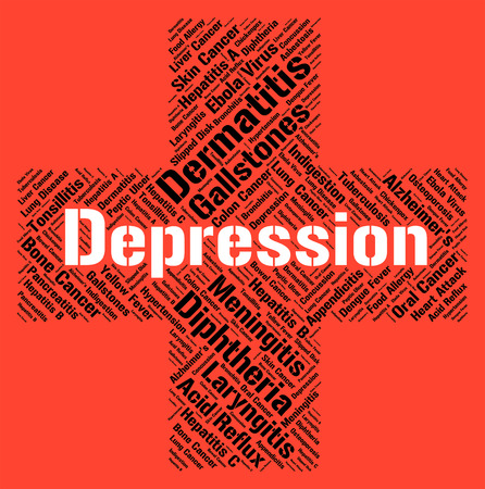 afflictions: Depression Word Representing Ill Health And Sad Stock Photo