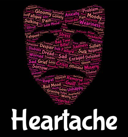 unhappiness: Heartache Word Representing Desolation Anguish And Unhappiness