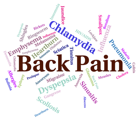 dolor espalda: Dolor de espalda Mostrando mala salud y Dolores Foto de archivo
