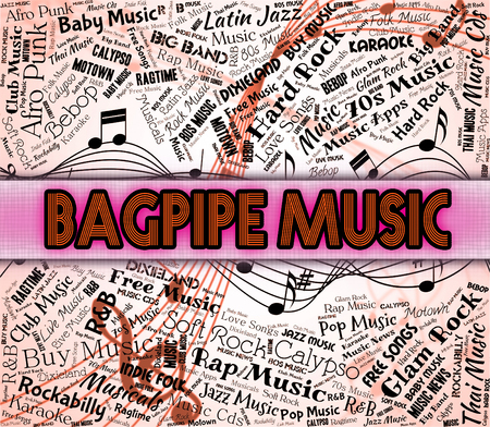 bagpipes: Bagpipe Music Showing Sound Track And Harmonies Stock Photo