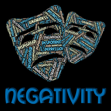 Negativity Word Representing Text Dissentt And Defeatist Stock Photo