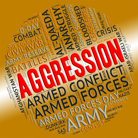 hostility: Aggression Word Representing Antagonism Truculence And Wordclouds Stock Photo