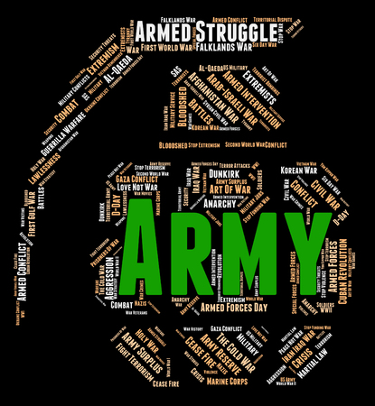 armed services: Army Word Indicating Military Service And Armed