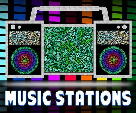 soundtrack: Radio Stations Indicating Audio Broadcasting And Soundtrack Stock Photo