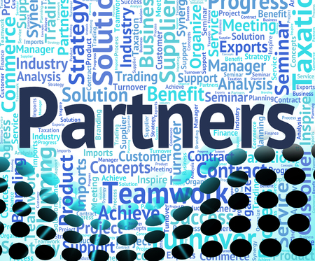 working together: Partners Word Meaning Working Together And Group Stock Photo