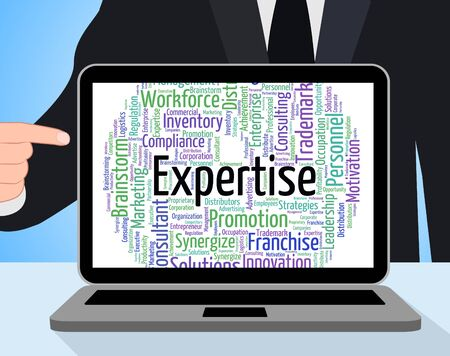 proficiency: Expertise Word Showing Training Proficiency And Words Stock Photo