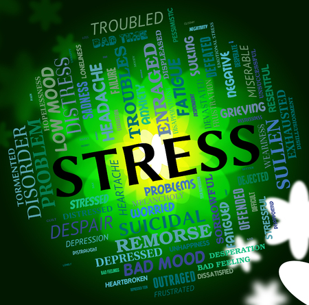 tension: Stress Word Representing Pressured Tension And Overworked Stock Photo