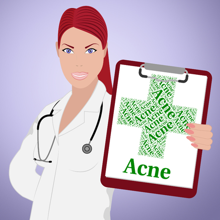 poor health: Acne Word Meaning Poor Health And Ill Stock Photo