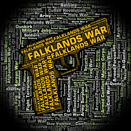 falklands war: Falklands War Representing Wordcloud Skirmish And Fights Stock Photo