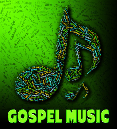 gospel music: Gospel Music Showing Christs Teaching And Tunes Stock Photo